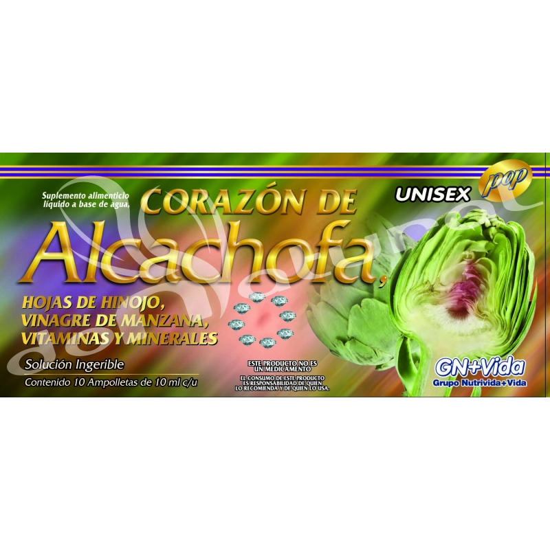 Corazón de Alcachofa, Caja con 10 ampolletas ingeribles